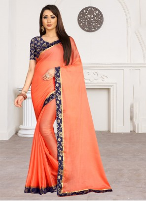 Orange Faux Chiffon Classic Saree