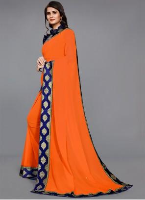 Orange Faux Chiffon Festival Casual Saree
