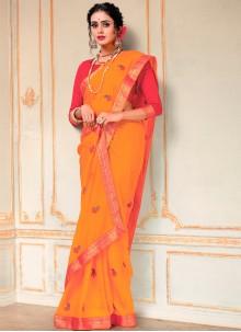 Orange Faux Chiffon Festival Classic Designer Saree