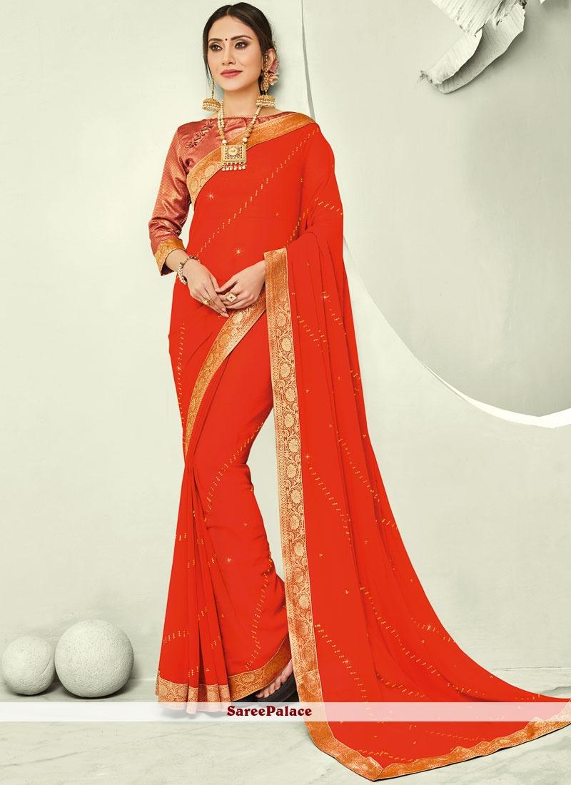 Orange Faux Chiffon Trendy Saree