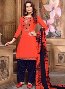 Orange Faux Georgette Festival Designer Patiala Suit