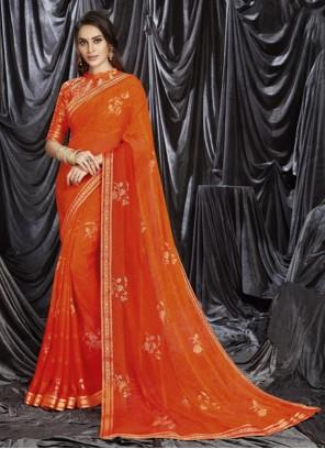 Orange Faux Georgette Print Shaded Saree
