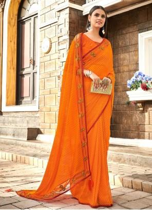 Orange Faux Georgette Printed Saree