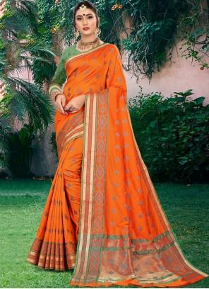 Orange Festival Art Silk Traditional Designer Saree