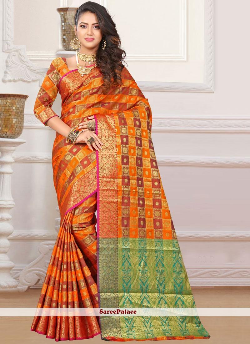 Orange Festival Classic Designer Saree