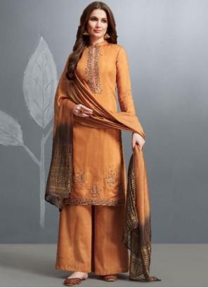 Orange Festival Cotton Palazzo Designer Salwar Kameez