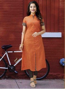 Orange Festival Designer Kurti