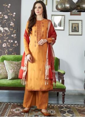 Orange Festival Designer Palazzo Suit