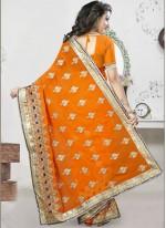 Orange Festival Georgette Designer Saree