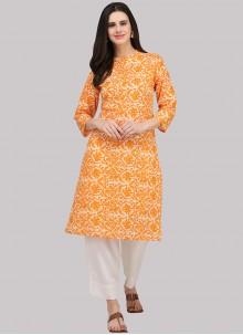 Orange Festival Party Wear Kurti