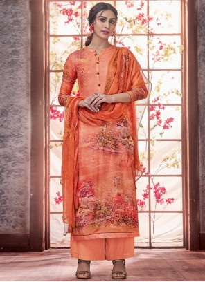Orange Festival Pashmina Salwar Kameez