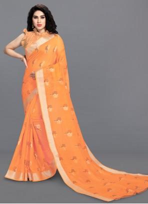 Orange Festival Printed Saree