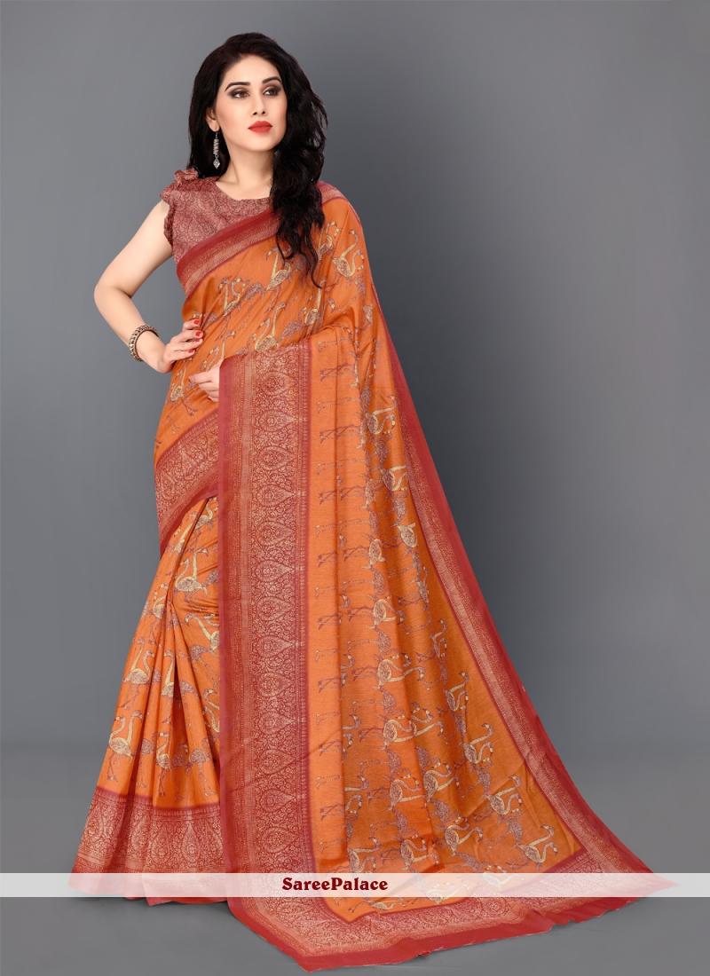 Orange Festival Silk Classic Saree