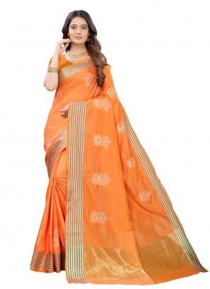Orange Festival Silk Traditional Designer Saree