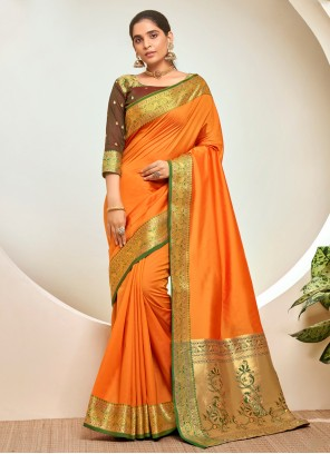 Orange Festival Traditional Designer Saree