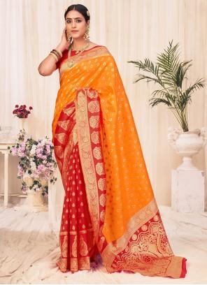 Orange Festival Traditional Designer Saree