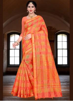 Orange Festival Traditional Saree