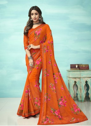 Orange Floral Print Casual Saree