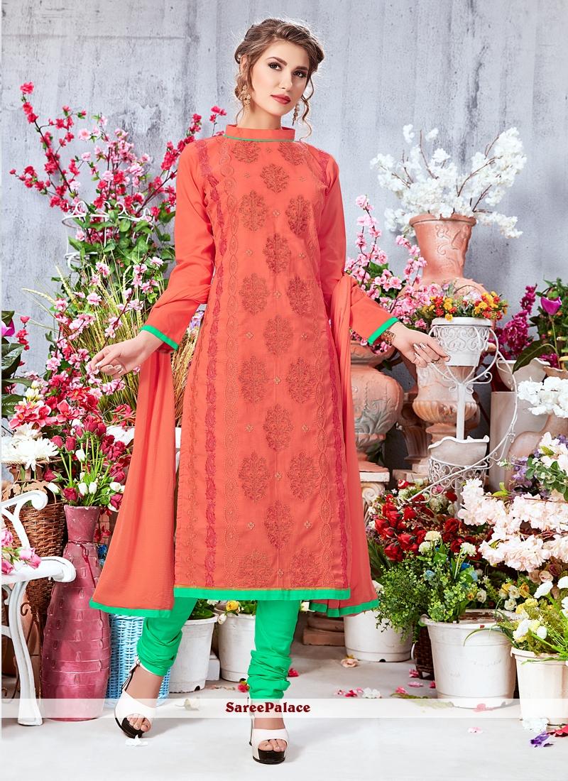 Orange Georgette Churidar Designer Suit