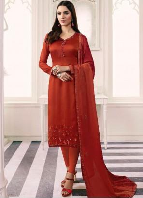 Orange Georgette Satin Embroidered Churidar Salwar Suit