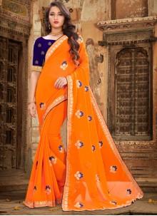 Orange Georgette Traditional Saree