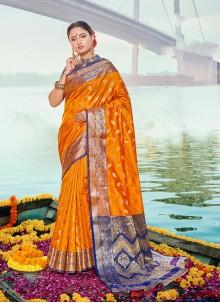 Orange Handloom silk Weaving Designer Traditional Saree