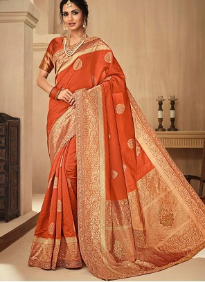 Orange Jacquard Silk Embroidered Traditional Saree