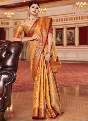 Orange Jacquard Work Silk Traditional Saree