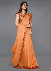 Orange Lace Work Jute Silk Classic Saree