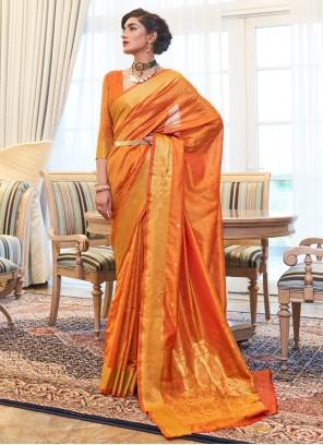 Orange Kanjivaram Silk Woven Designer Traditional Saree