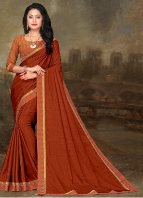 Orange Lace Art Silk Traditional Saree