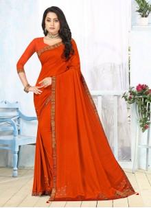 Orange Lace Vichitra silk Classic Saree