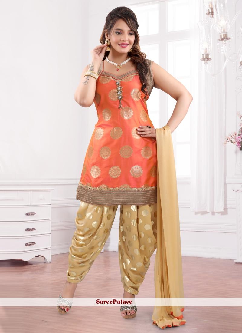 Orange Lace Designer Patiala Suit