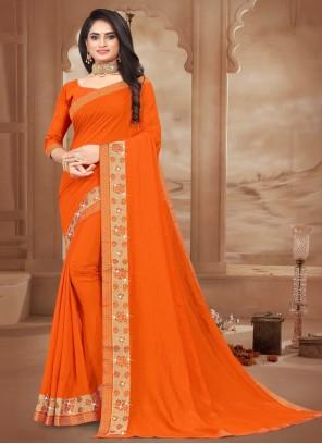 Orange Lace Designer Saree