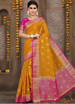 Orange Linen Designer Traditional Saree