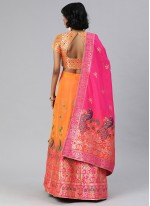 Orange Mehndi Banarasi Silk A Line Lehenga Choli
