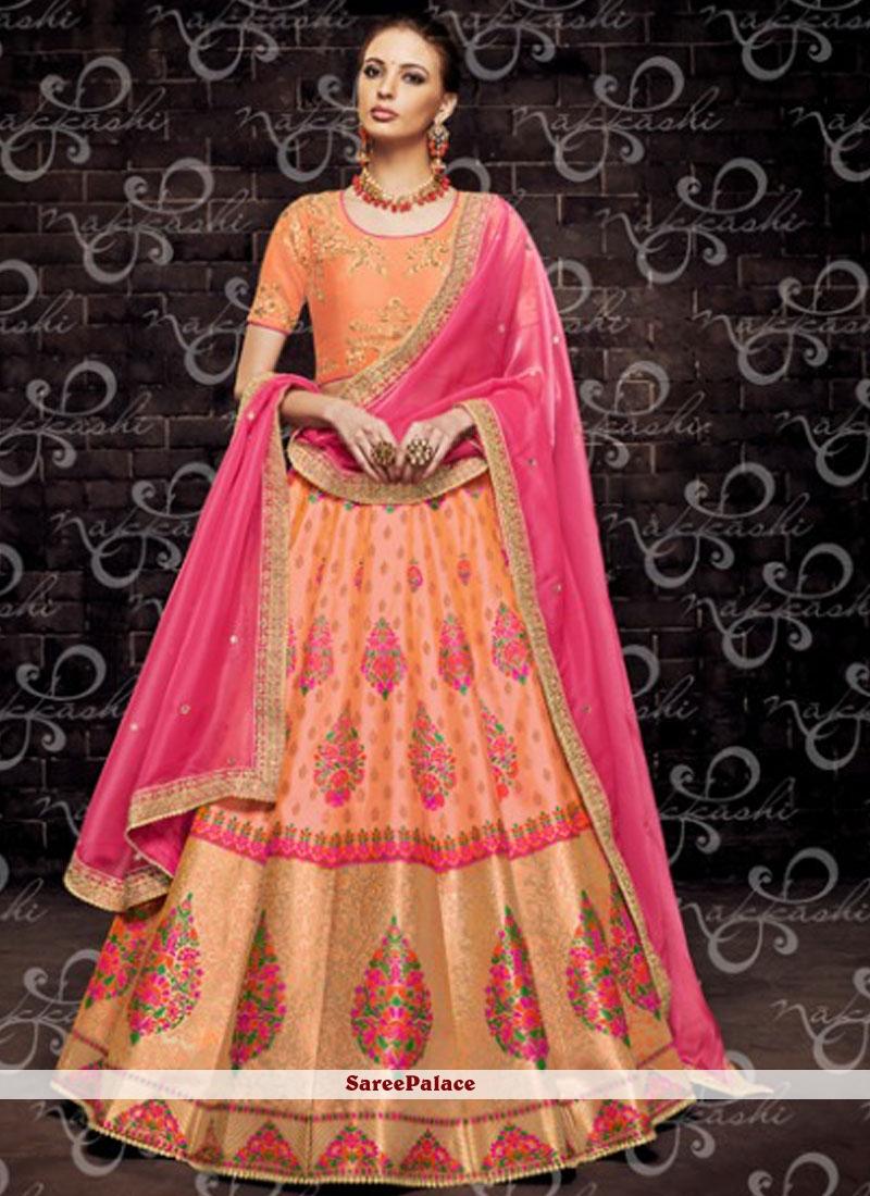 Orange Mehndi Brocade Designer Lehenga Choli
