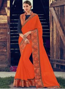 Orange Mehndi Faux Chiffon Classic Saree