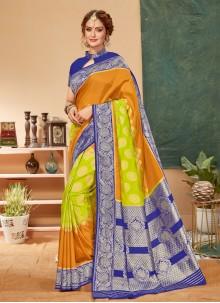 Orange Mehndi Saree