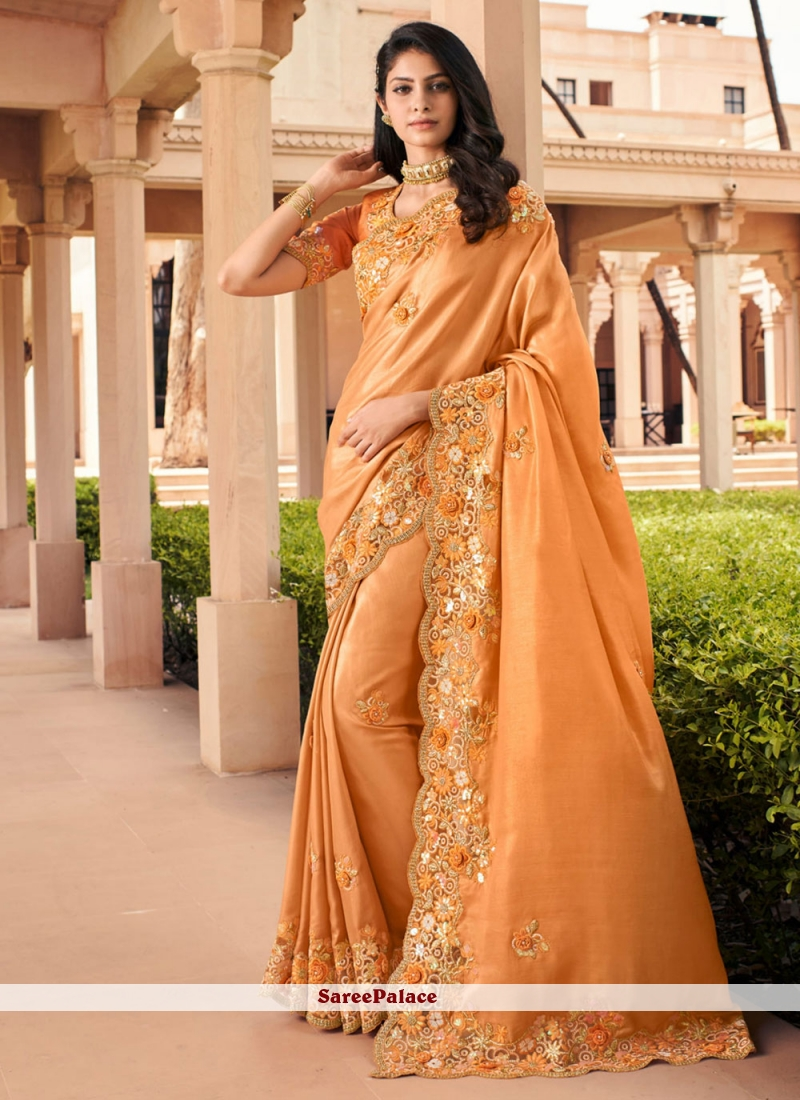 Orange Resham Party Bollywood Saree