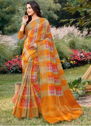Orange Party Handloom silk Traditional Saree
