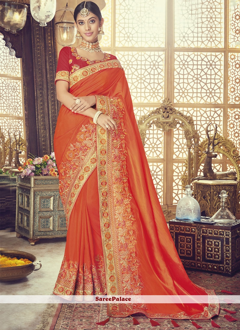 Orange Patch Border Art Silk Traditional Designer Saree