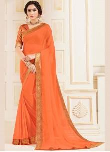 Orange Patch Border Classic Saree