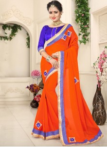Orange Patch Border Faux Chiffon Classic Designer Saree