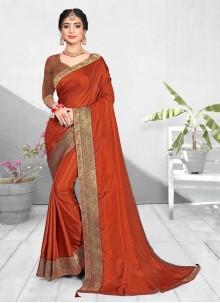 Orange Patch Border Vichitra Silk Traditional Designer Saree