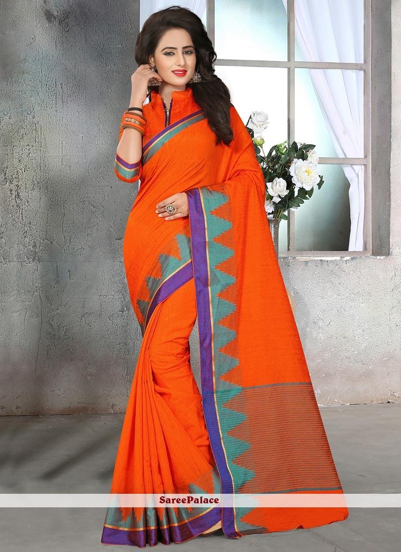 Orange Patch Border Work Cotton Silk Traditional  Saree