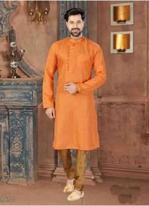 Orange Plain Art Silk Kurta Pyjama