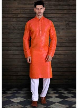 Orange Plain Kurta Pyjama