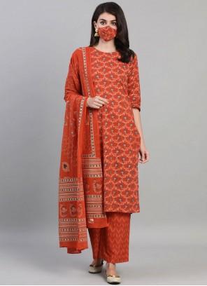 Orange Print Cotton Readymade Suit