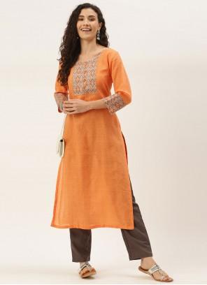 Orange Blended Cotton Print Party Wear Kurti